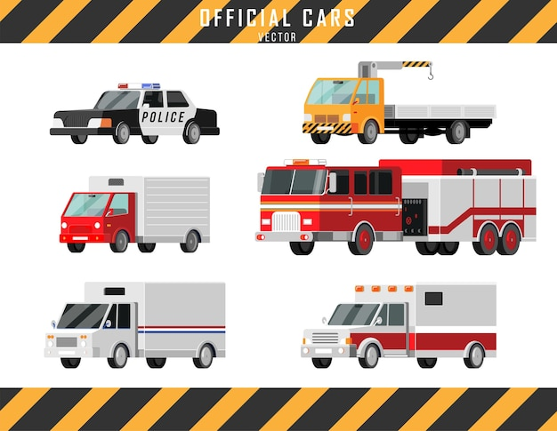 Oficjalne samochody wektorowe zestaw ikon. karetka pogotowia, policja, wóz strażacki, ciężarówka pocztowa, laweta, dźwig, ciężarówka ciężarówka ilustracja styl kreskówki