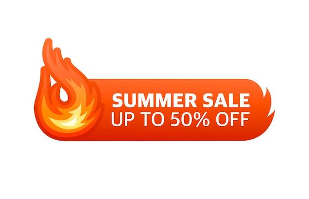 Ogień gorąca letnia wyprzedaż do 50 procent zniżki element projektu wektorowego czerwony sztandar