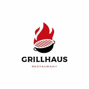 Ogień grill logo ikona ilustracja