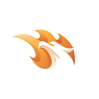 Ogień i głowa ptaka maskotka