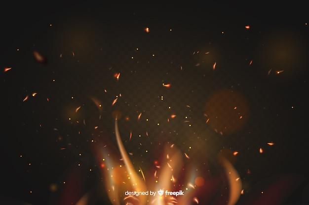Ogień iskry efekt tła koncepcja