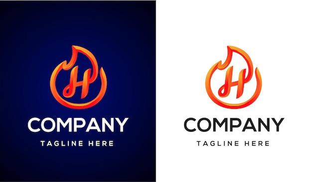 Ogień logo litera h 3d