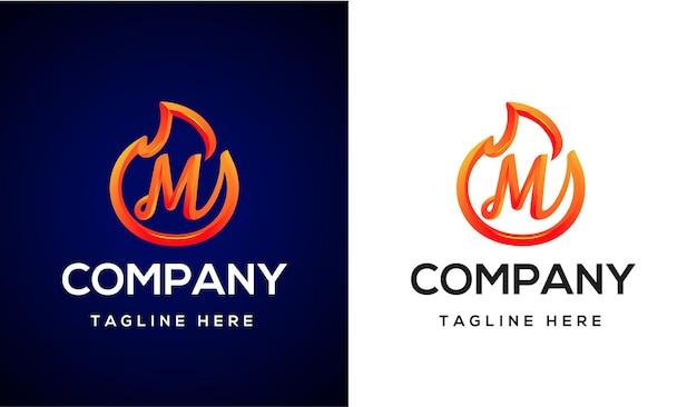 Ogień logo litera m 3d