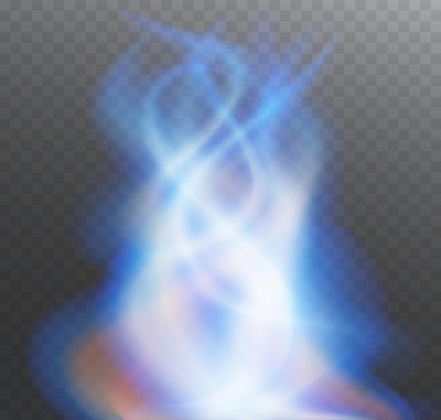 Ogień niebieski płomień. jasna przezroczysta forma ognia lub dymu.