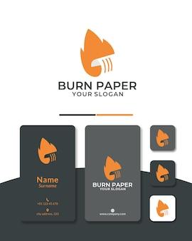 Ogień papierowy projekt logo spalający dokument