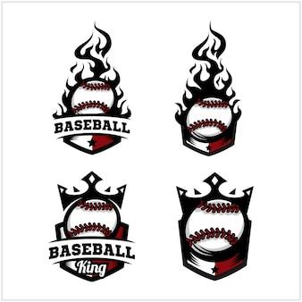 Ogień piłki baseballowej i logo znaczek króla