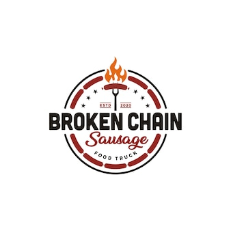Ogień płomień grillowana kiełbasa mięso z grilla grill projekt logo retro vintage logo