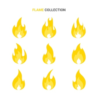 Ogień płomień kreskówka zestaw ilustracji na białym tle