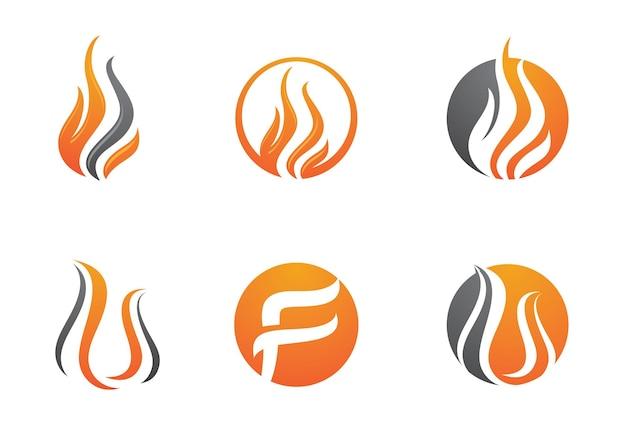 Ogień płomień logo szablon wektor ikona koncepcja logo ropy naftowej, gazu i energii