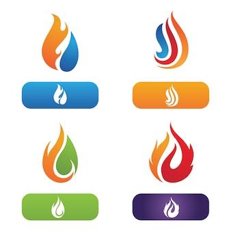 Ogień płomień logo wektor ilustracja projekt