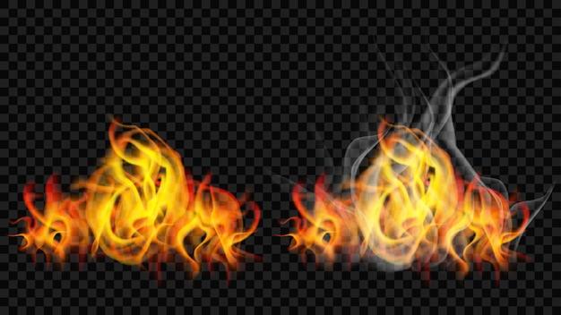 Ogień płomień z dymem i bez na przezroczystym tle. do stosowania na ciemnym tle. przezroczystość tylko w formacie wektorowym