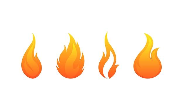 Ogień płomienie wektor zestaw ikon. płomień ognisko symbol na białym tle. wektor eps10