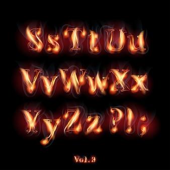 Ogień płonący alfabet łaciński.
