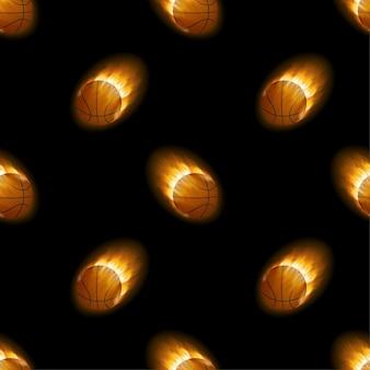 Ogień płonący koszykówka z czarnym wzorem tła. czas ilustracja wektorowa.