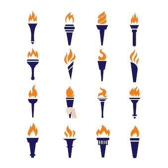 Ogień pochodnia zwycięstwo mistrzostwo płomień płaskie wektorowe ikony
