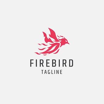 Ogień ptak czerwony płomień logo ikona ilustracja szablon projektu