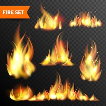 Ogień świecące płomienie zestaw ikon