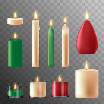 Ogień świecy. świece woskowe na przyjęcie świąteczne, romantyczny gorący płomień świecy. ilustracja