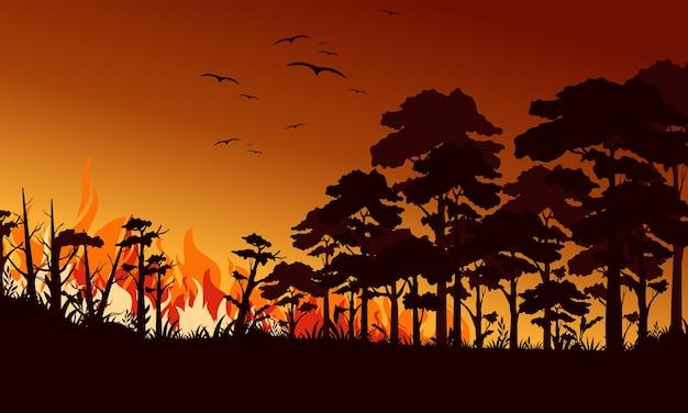 Ogień w lesie ilustracja płaski. ptaki latające nad płomieniem ognia. krajobraz pożaru, dziki. katastrofa ekologiczna. palenie drzew i drewno w nocy. płonący las.