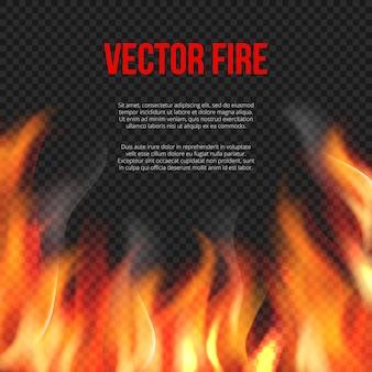 Ogień w tle. światło płonącego płomienia na przezroczystym szablonie wybuchu