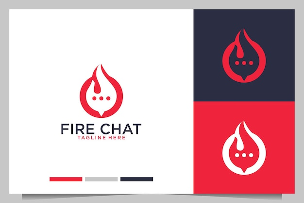 Ogień z projektem logo bańki czatu