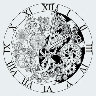 Oglądaj części. mechanizm zegara z kołem zębatym.