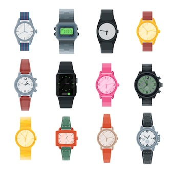 Oglądaj wektor biznesowy zegarek na rękę lub moda na rękę z zegarkiem