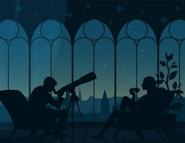 Oglądanie gwiazd w domu. ilustracja wnętrza pokoju z dwoma fotelami, mężczyzna patrząc przez teleskop, kobieta z filiżanką herbaty, widok panoramiczny z łukowatych okien na nocne gwiaździste niebo miasta