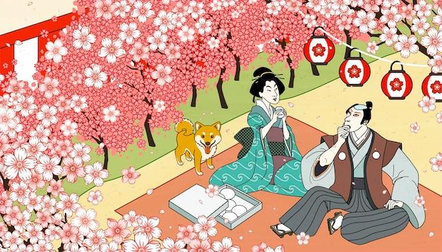 Oglądanie pięknych kwiatów wiśni w stylu ukiyo-e