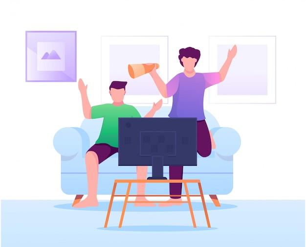 Oglądanie piłki nożnej w telewizji płaski ilustracja