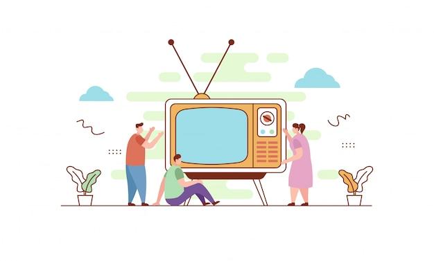 Oglądanie telewizji retro w stylu płaskiej