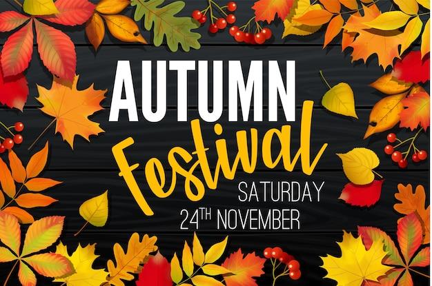 Ogłoszenie festiwalu listopadowej jesieni, projekt transparentu zaproszenia, szablon z opadłymi liśćmi, realistyczne kolorowe liście z tekstem