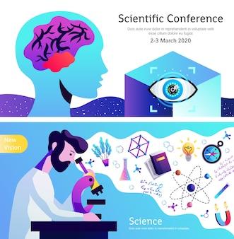 Ogłoszenie konferencji naukowej zestaw 2 poziome abstrakcyjne kolorowe banery