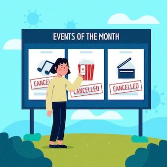 Ogłoszenie o odwołanych wydarzeniach z billboardem