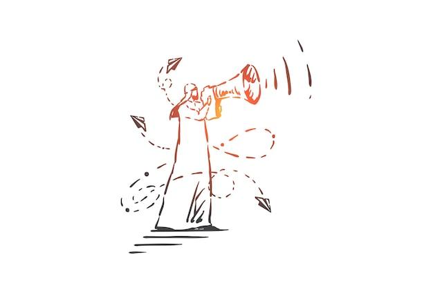 Ogłoszenie, promocja, ilustracja koncepcji powiadomienia