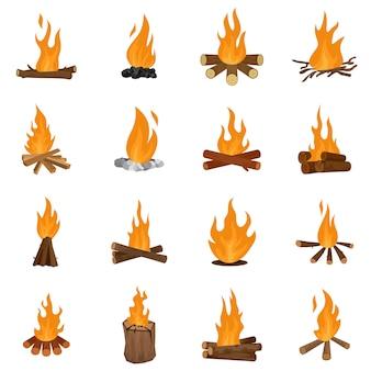 Ognisko nocy ogień ikony zestaw wektor na białym tle
