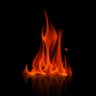 Ognisko płomień czerwonego ognia na tle