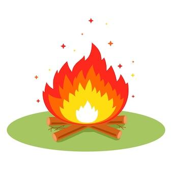 Ognisko z iskrami na polanie w lesie. płaska ilustracja.