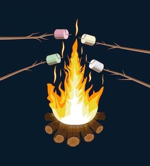 Ognisko z pianką. kłody i ogień.