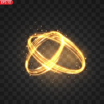 Ogniste lekkie kręgi efekt blasku lśniący złoty blask ogniste kręgi lśniące magicznymi wirami i lekką energią