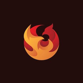 Ogniste skrzydło ptaka phoenix z logo w kształcie koła
