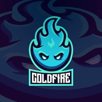 Ognisty lodowy płomień blasku logo gorącej maskotki
