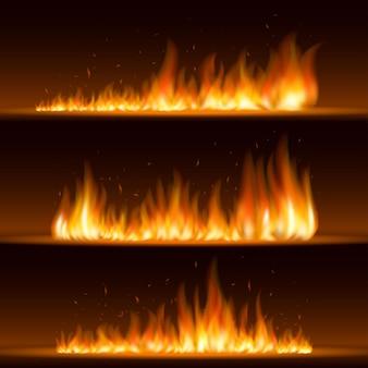 Ognisty płomień z poziomym dymem i iskrami