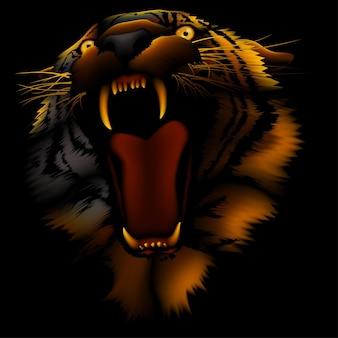 Ognisty tygrys ryczący na ciemnym tle