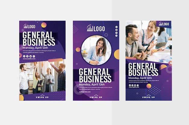 Ogólna kolekcja historii biznesowych na instagramie