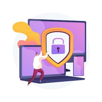 Ogólne bezpieczeństwo danych. ochrona danych osobowych, kontrola dostępu do baz danych, cyberprywatność. zsynchronizowane gadżety, regulacja urządzeń wieloplatformowych. ilustracja wektorowa na białym tle koncepcja metafora