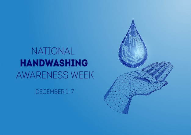 Ogólnopolski tydzień podnoszenia świadomości na temat mycia rąk z niską poli ludzką ręką i kroplą wody