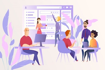 Ogólnospołeczny sieć rozwoju kreskówki wektoru pojęcie