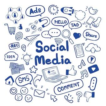 Ogólnospołeczna medialna ręka rysująca doodles tło wektor