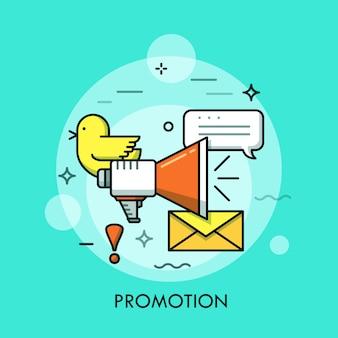 Ogólnospołecznego medialnego marketingu cienka kreskowa ilustracja